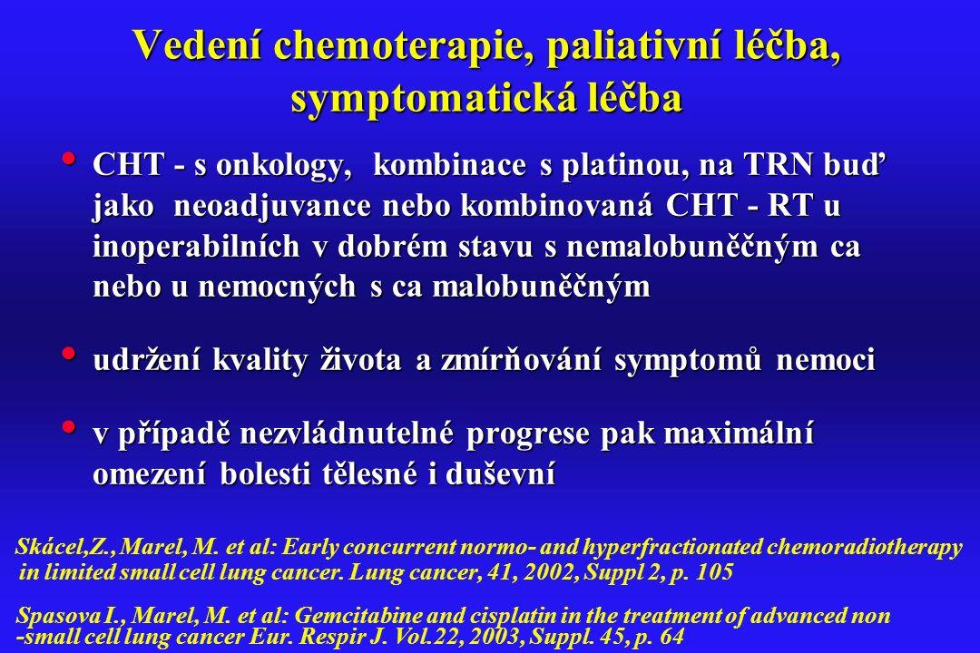 Vedení chemoterapie, paliativní léčba, symptomatická léčba CHT - s onkology, kombinace s platinou, na TRN buď jako neoadjuvance nebo kombinovaná CHT -