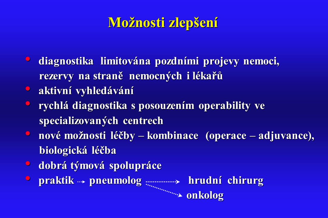 Možnosti zlepšení diagnostika limitována pozdními projevy nemoci, diagnostika limitována pozdními projevy nemoci, rezervy na straně nemocných i lékařů