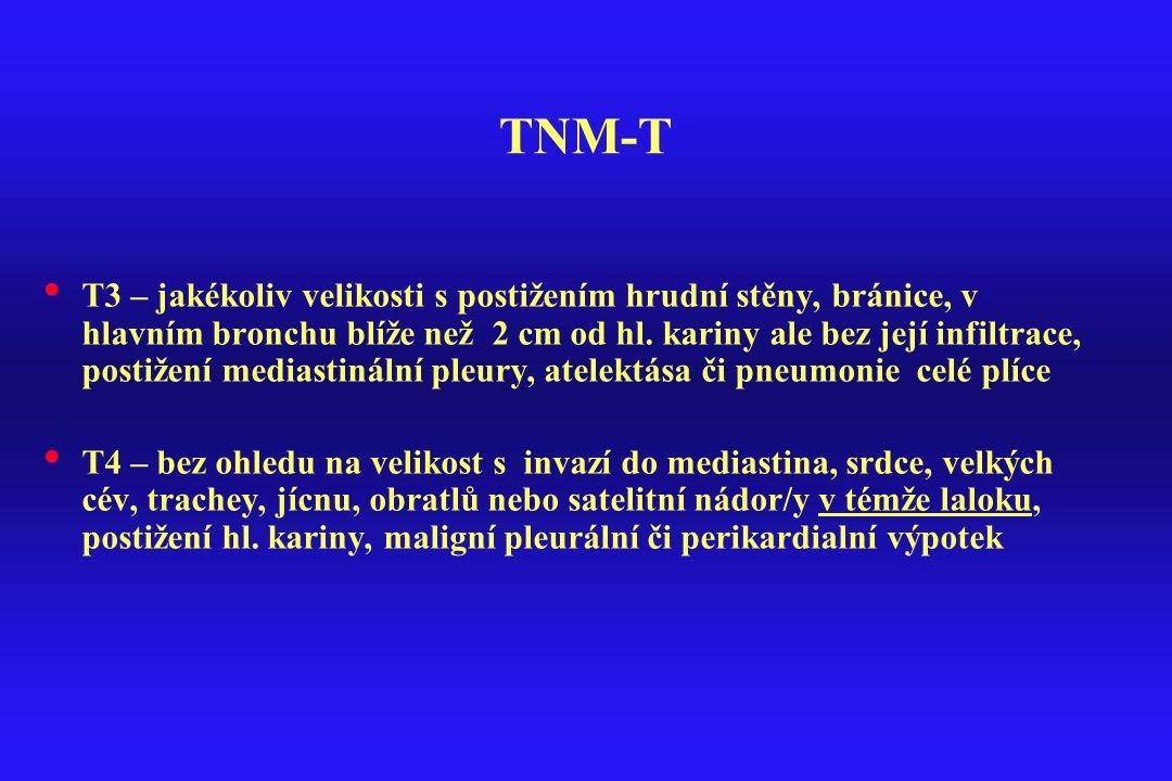 TNM-T T3 – jakékoliv velikosti s postižením hrudní stěny, bránice, v hlavním bronchu blíže než 2 cm od hl. kariny ale bez její infiltrace, postižení m
