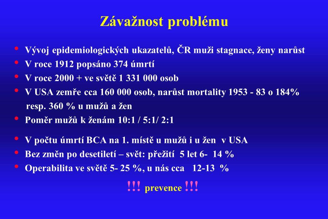 Přežití nemocných s BCA přežití 5ti let v ČR přežití 5ti let v ČR 7,5 % m -10 % ž 7,5 % m -10 % ž (UZIS 2006 ) (UZIS 2006 ) EU 8 –10 %EU 8 –10 % USA 15 % USA 15 % (Ginsberg et al:Cancer of the lung in VT deVita: Principles and Practise of Oncology, Lippincroft, 2001) (Ginsberg et al:Cancer of the lung in VT deVita: Principles and Practise of Oncology, Lippincroft, 2001)