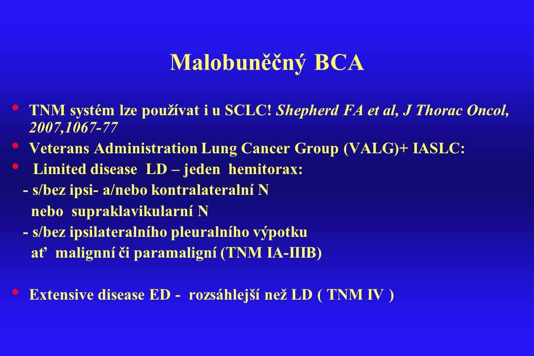 Malobuněčný BCA TNM systém lze používat i u SCLC! Shepherd FA et al, J Thorac Oncol, 2007,1067-77 Veterans Administration Lung Cancer Group (VALG)+ IA