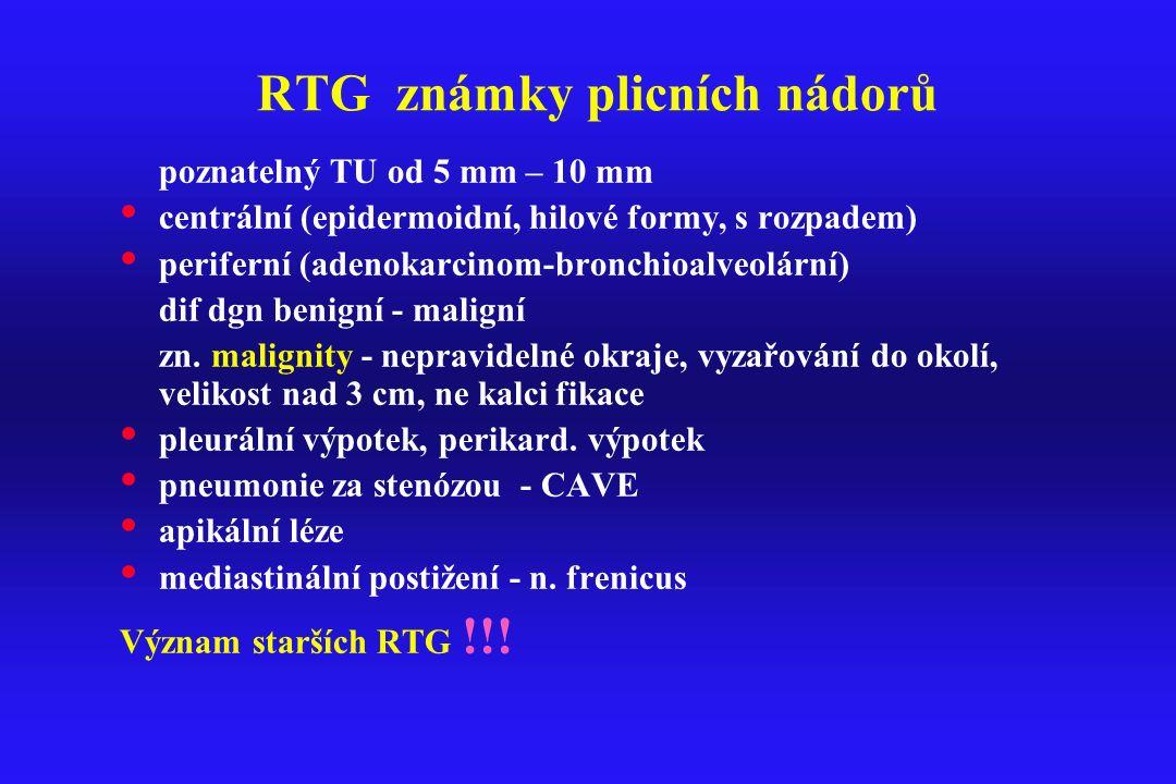 RTG známky plicních nádorů poznatelný TU od 5 mm – 10 mm centrální (epidermoidní, hilové formy, s rozpadem) periferní (adenokarcinom-bronchioalveolárn