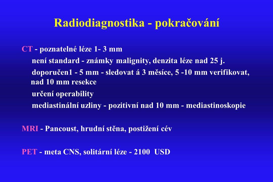 Radiodiagnostika - pokračování CT - poznatelné léze 1- 3 mm není standard - známky malignity, denzita léze nad 25 j. doporučen1 - 5 mm - sledovat á 3