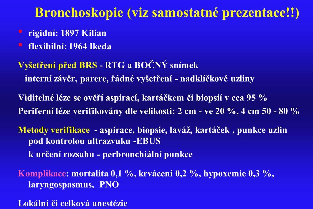 Bronchoskopie (viz samostatné prezentace!!) rigidní: 1897 Kilian flexibilní: 1964 Ikeda Vyšetření před BRS - RTG a BOČNÝ snímek interní závěr, parere,