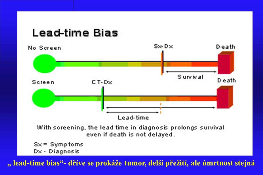 """Lead-time bias: dříve se prokáže tumor, delší přežití, ale úmrtnost stejná """" lead-time bias""""- dříve se prokáže tumor, delší přežití, ale úmrtnost stej"""