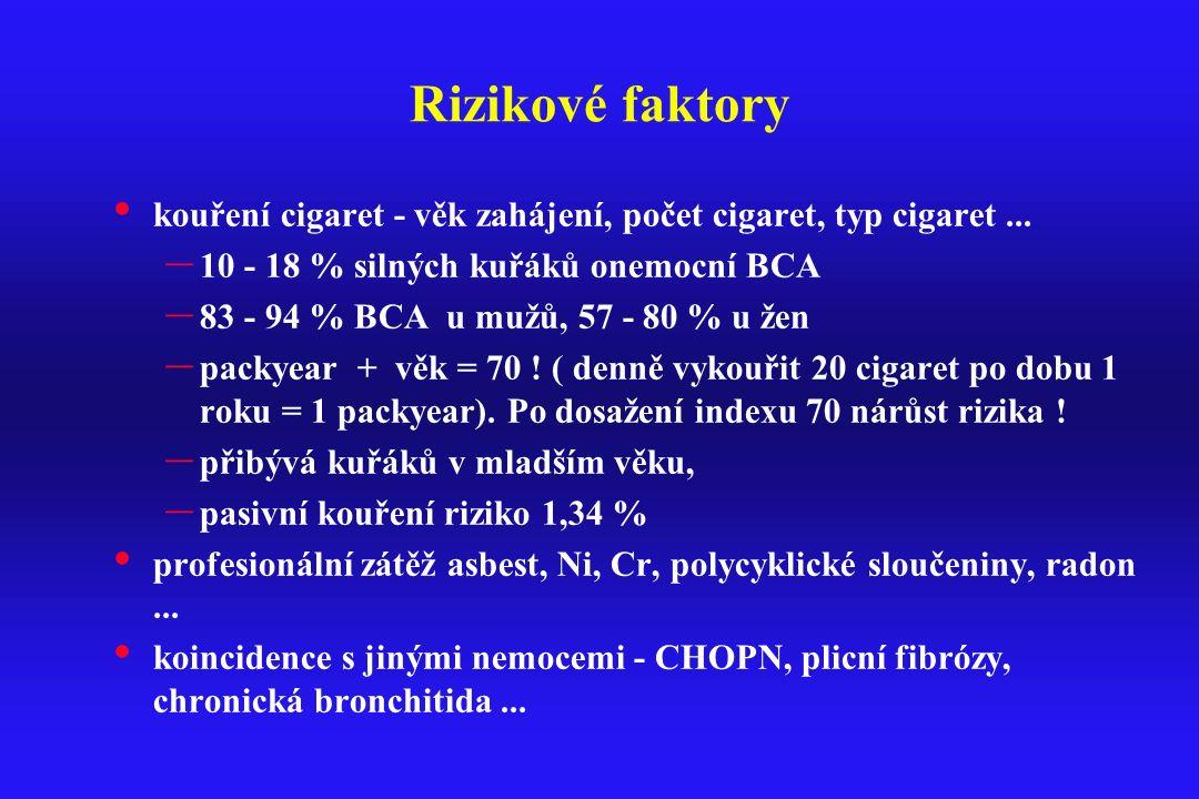 Rizikové faktory kouření cigaret - věk zahájení, počet cigaret, typ cigaret... – 10 - 18 % silných kuřáků onemocní BCA – 83 - 94 % BCA u mužů, 57 - 80