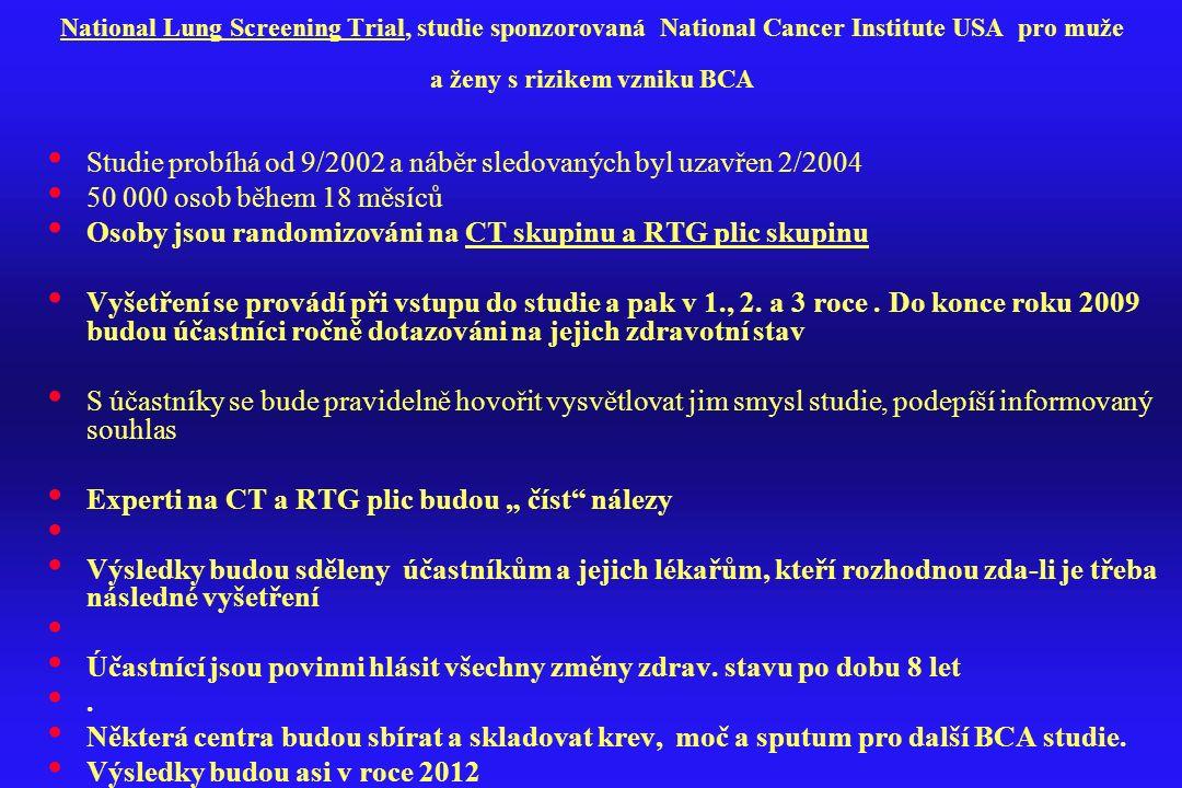 National Lung Screening Trial, studie sponzorovaná National Cancer Institute USA pro muže a ženy s rizikem vzniku BCA Studie probíhá od 9/2002 a náběr