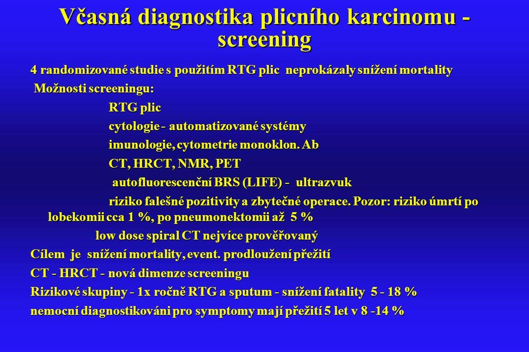 Včasná diagnostika plicního karcinomu - screening 4 randomizované studie s použitím RTG plic neprokázaly snížení mortality Možnosti screeningu: Možnos