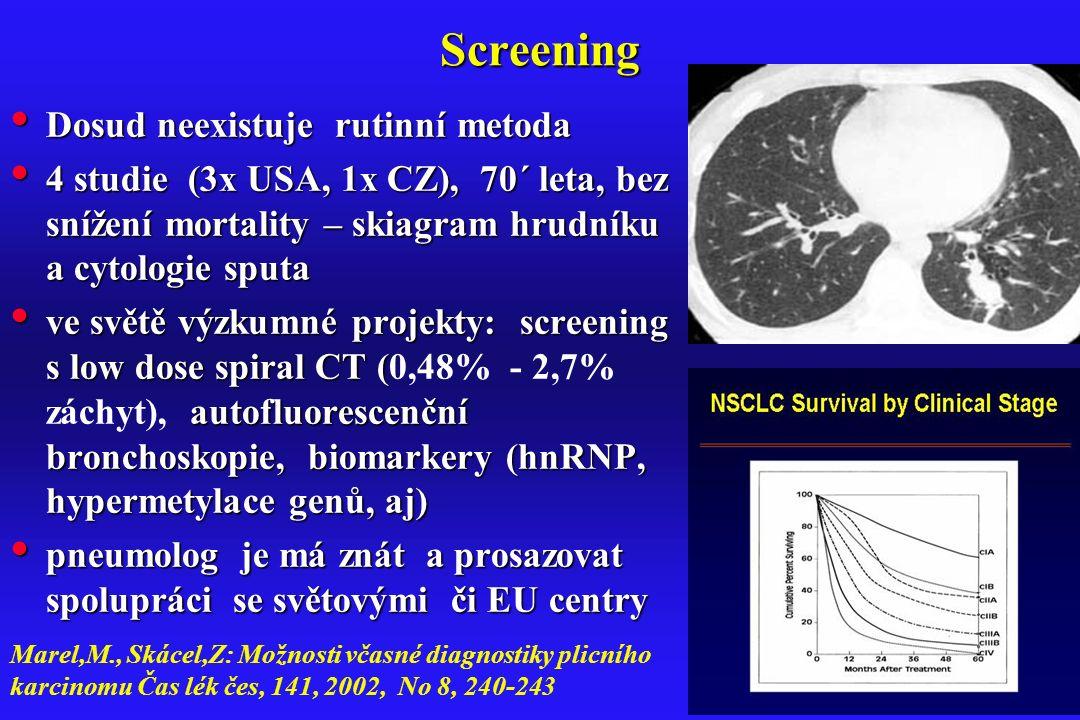 Screening Dosud neexistuje rutinní metoda Dosud neexistuje rutinní metoda 4 studie (3x USA, 1x CZ), 70´ leta, bez snížení mortality – skiagram hrudník