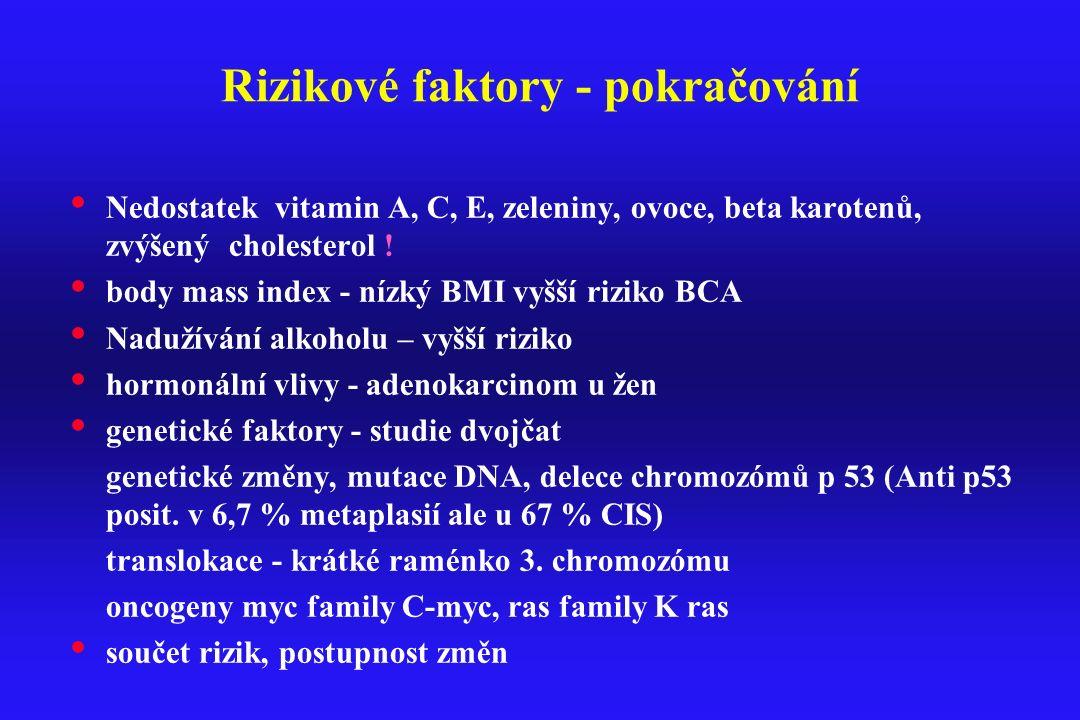 Rizikové faktory - pokračování Nedostatek vitamin A, C, E, zeleniny, ovoce, beta karotenů, zvýšený cholesterol ! body mass index - nízký BMI vyšší riz