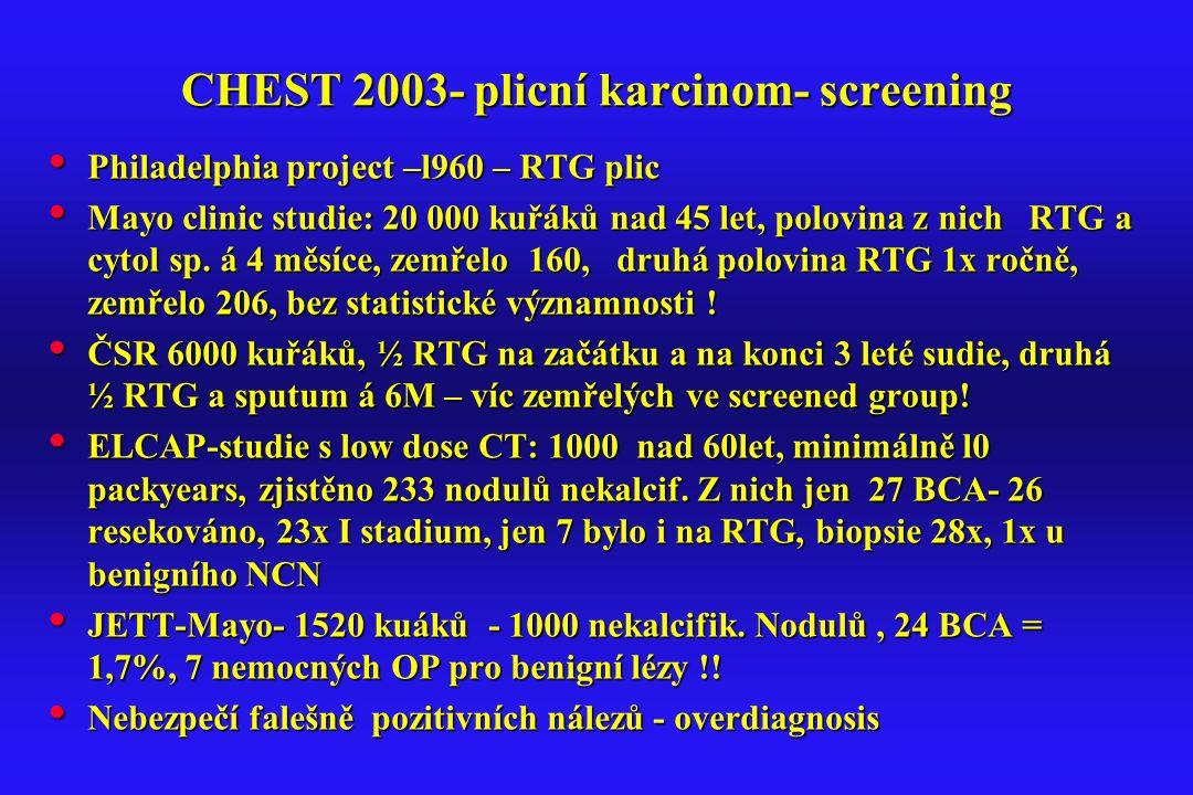 CHEST 2003- plicní karcinom- screening Philadelphia project –l960 – RTG plic Philadelphia project –l960 – RTG plic Mayo clinic studie: 20 000 kuřáků n