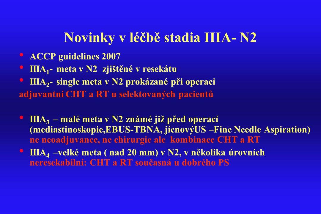 Novinky v léčbě stadia IIIA- N2 ACCP guidelines 2007 IIIA 1 - meta v N2 zjištěné v resekátu IIIA 2 - single meta v N2 prokázané při operaci adjuvantní