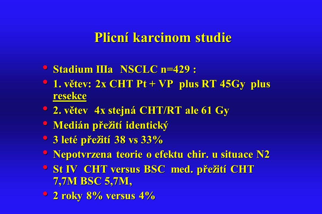 Plicní karcinom studie Plicní karcinom studie Stadium IIIa NSCLC n=429 : Stadium IIIa NSCLC n=429 : 1. větev: 2x CHT Pt + VP plus RT 45Gy plus resekce