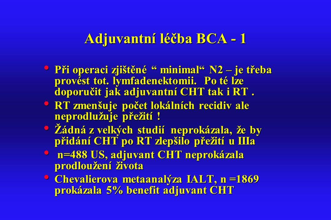 """Adjuvantní léčba BCA - 1 Při operaci zjištěné """" minimal"""" N2 – je třeba provést tot. lymfadenektomii. Po té lze doporučit jak adjuvantní CHT tak i RT."""