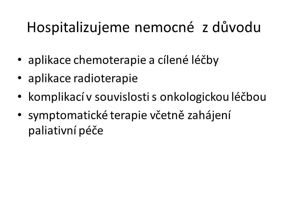 Hospitalizujeme nemocné z důvodu aplikace chemoterapie a cílené léčby aplikace radioterapie komplikací v souvislosti s onkologickou léčbou symptomatické terapie včetně zahájení paliativní péče