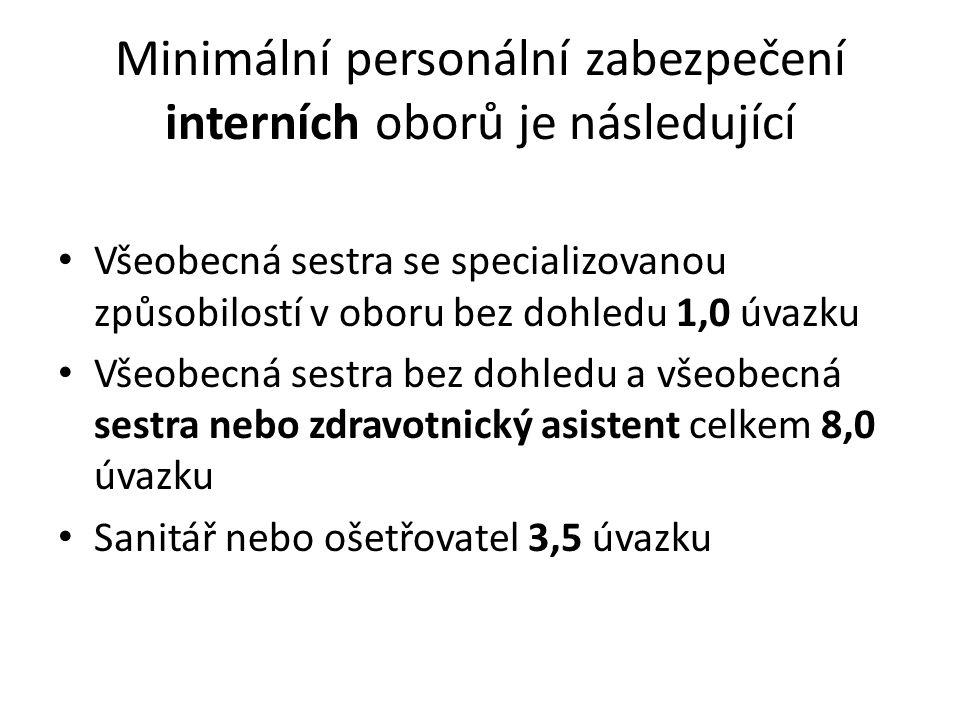 Minimální personální zabezpečení interních oborů je následující Všeobecná sestra se specializovanou způsobilostí v oboru bez dohledu 1,0 úvazku Všeobecná sestra bez dohledu a všeobecná sestra nebo zdravotnický asistent celkem 8,0 úvazku Sanitář nebo ošetřovatel 3,5 úvazku