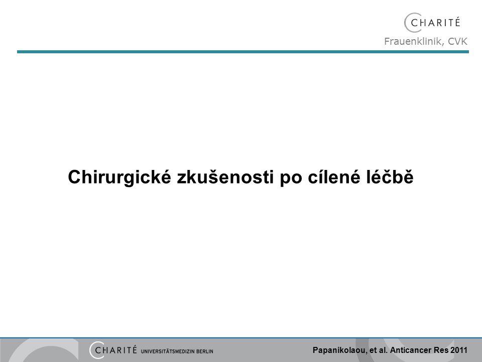 Frauenklinik, CVK Papanikolaou, et al. Anticancer Res 2011 Chirurgické zkušenosti po cílené léčbě