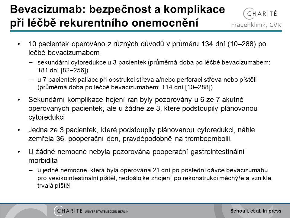 Frauenklinik, CVK Bevacizumab: bezpečnost a komplikace při léčbě rekurentního onemocnění 10 pacientek operováno z různých důvodů v průměru 134 dní (10–288) po léčbě bevacizumabem –sekundární cytoredukce u 3 pacientek (průměrná doba po léčbě bevacizumabem: 181 dní [82–256]) –u 7 pacientek paliace při obstrukci střeva a/nebo perforaci střeva nebo píštěli (průměrná doba po léčbě bevacizumabem: 114 dní [10–288]) Sekundární komplikace hojení ran byly pozorovány u 6 ze 7 akutně operovaných pacientek, ale u žádné ze 3, které podstoupily plánovanou cytoredukci Jedna ze 3 pacientek, které podstoupily plánovanou cytoredukci, náhle zemřela 36.
