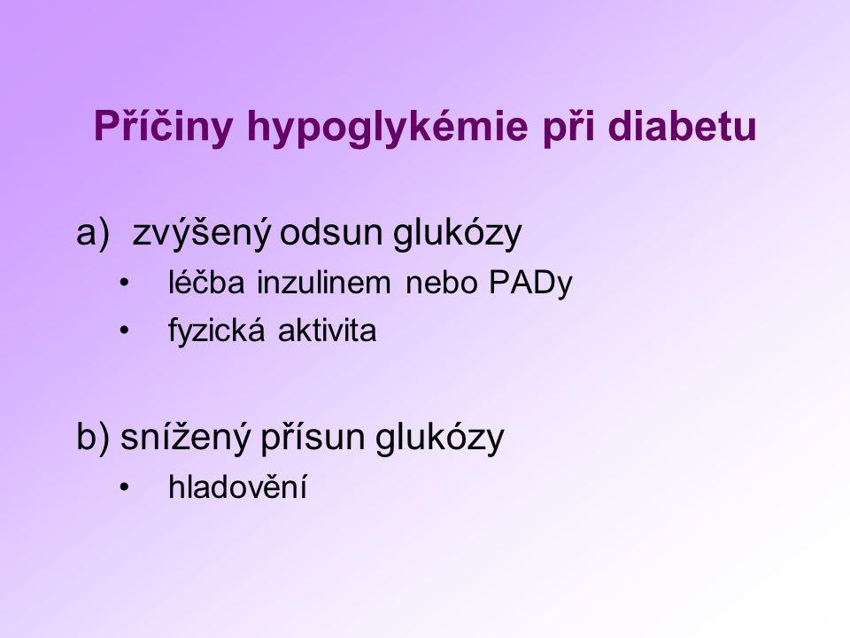 Příčiny hypoglykémie při diabetu a)zvýšený odsun glukózy léčba inzulinem nebo PADy fyzická aktivita b) snížený přísun glukózy hladovění