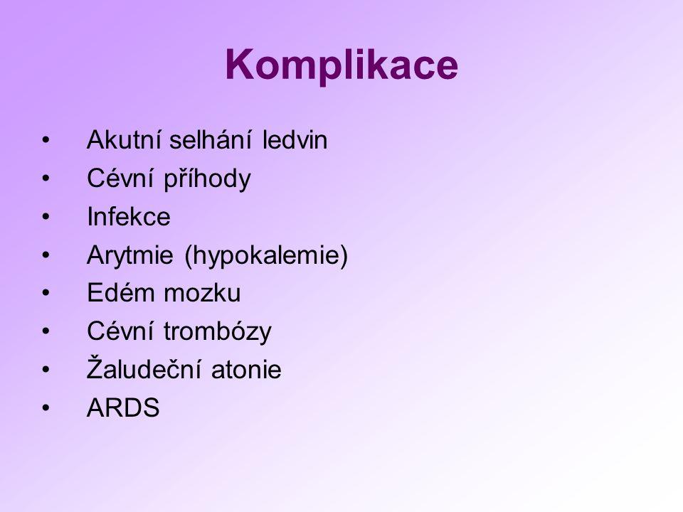 Komplikace Akutní selhání ledvin Cévní příhody Infekce Arytmie (hypokalemie) Edém mozku Cévní trombózy Žaludeční atonie ARDS