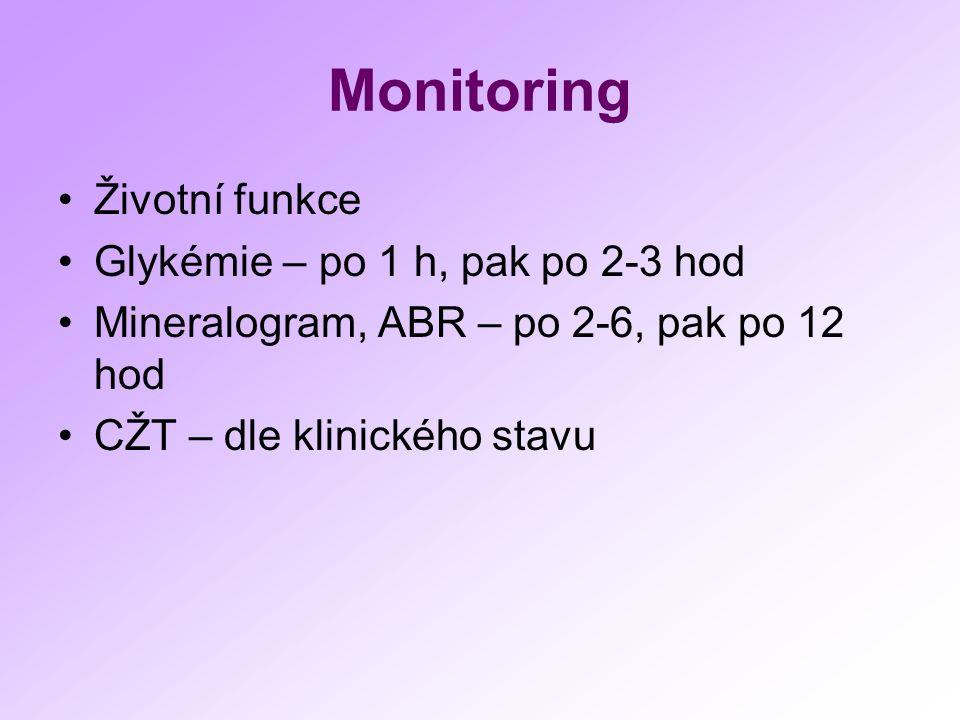 Monitoring Životní funkce Glykémie – po 1 h, pak po 2-3 hod Mineralogram, ABR – po 2-6, pak po 12 hod CŽT – dle klinického stavu