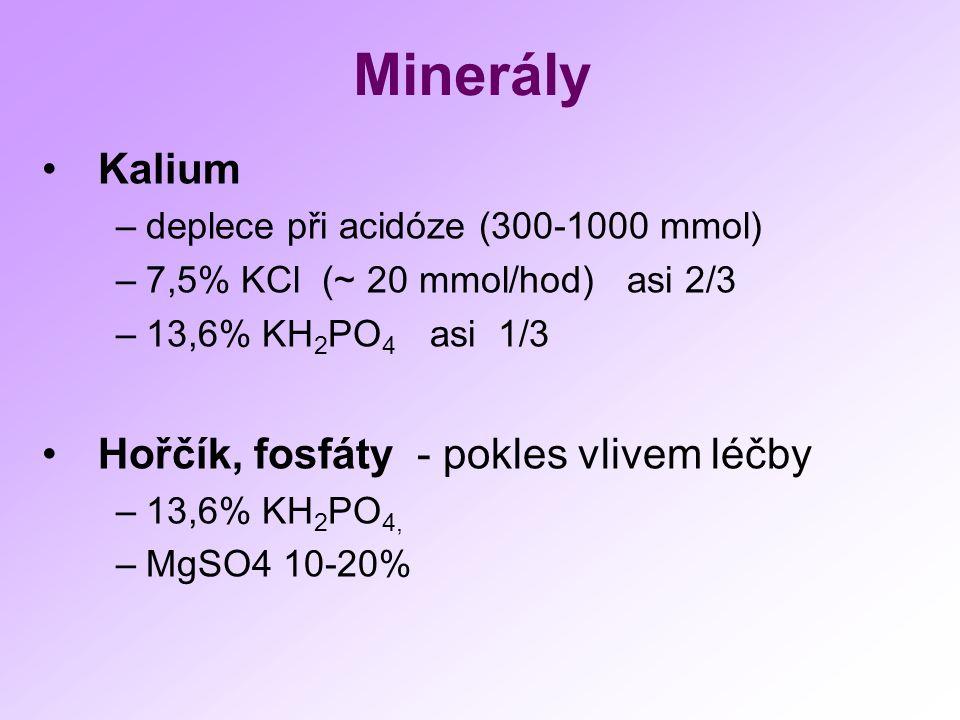 Minerály Kalium –deplece při acidóze (300-1000 mmol) –7,5% KCl (~ 20 mmol/hod) asi 2/3 –13,6% KH 2 PO 4 asi 1/3 Hořčík, fosfáty - pokles vlivem léčby –13,6% KH 2 PO 4, –MgSO4 10-20%