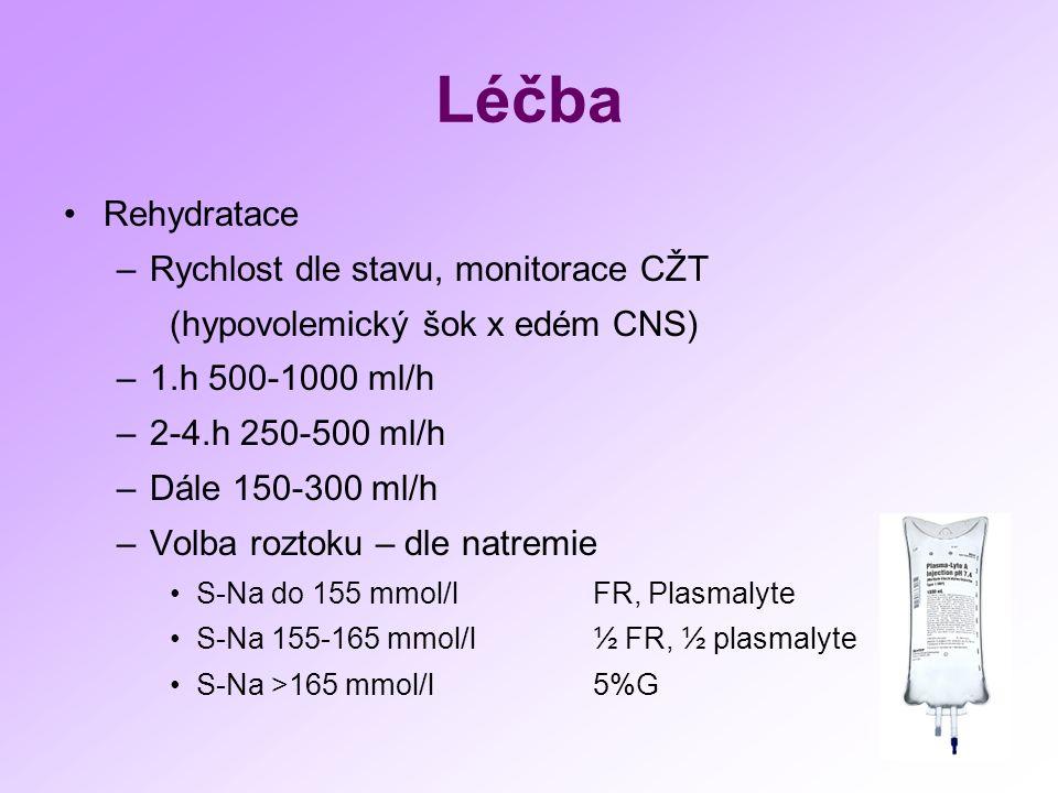 Léčba Rehydratace –Rychlost dle stavu, monitorace CŽT (hypovolemický šok x edém CNS) –1.h 500-1000 ml/h –2-4.h 250-500 ml/h –Dále 150-300 ml/h –Volba roztoku – dle natremie S-Na do 155 mmol/lFR, Plasmalyte S-Na 155-165 mmol/l½ FR, ½ plasmalyte S-Na >165 mmol/l5%G