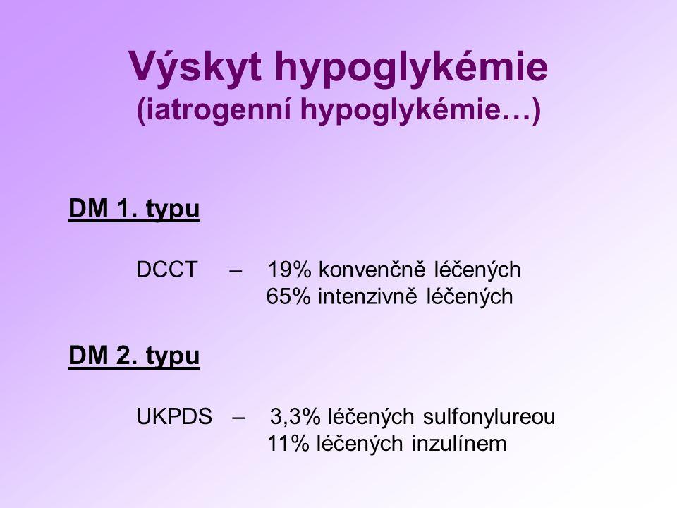 Výskyt hypoglykémie (iatrogenní hypoglykémie…) DM 1. typu DCCT – 19% konvenčně léčených 65% intenzivně léčených DM 2. typu UKPDS – 3,3% léčených sulfo