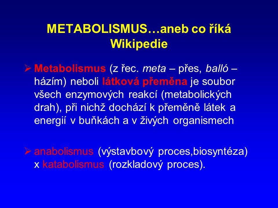 METABOLISMUS…aneb co říká Wikipedie  Metabolismus (z řec.