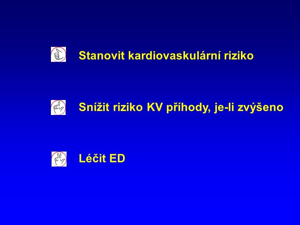Stanovit kardiovaskulární riziko Snížit riziko KV příhody, je-li zvýšeno Léčit ED