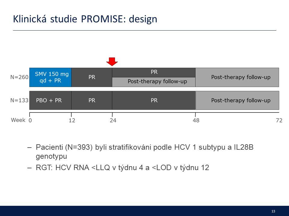 13 Klinická studie PROMISE: design –Pacienti (N=393) byli stratifikováni podle HCV 1 subtypu a IL28B genotypu –RGT: HCV RNA <LLQ v týdnu 4 a <LOD v týdnu 12