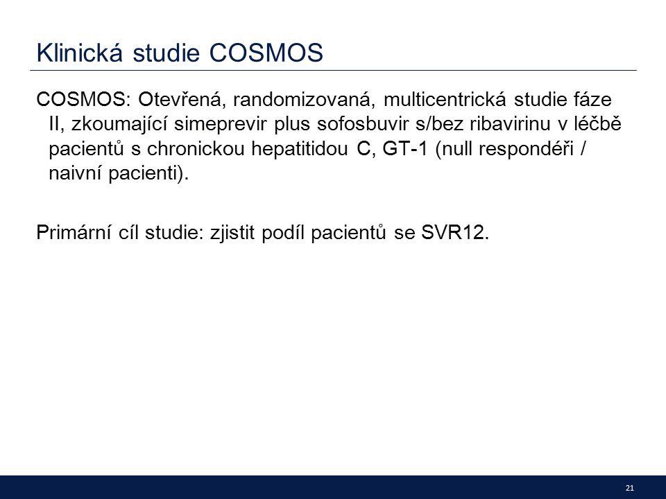 21 Klinická studie COSMOS COSMOS: Otevřená, randomizovaná, multicentrická studie fáze II, zkoumající simeprevir plus sofosbuvir s/bez ribavirinu v léčbě pacientů s chronickou hepatitidou C, GT -1 (nu ll respondéři / naivní pacienti).