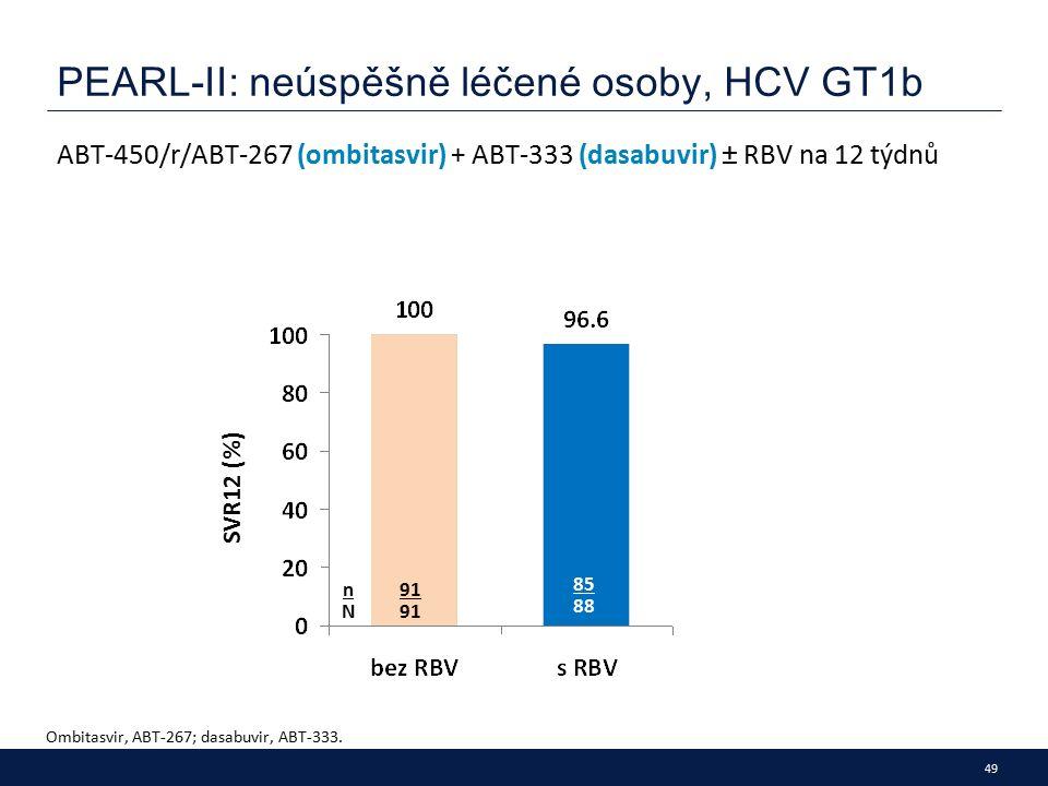 49 PEARL-II: neúspěšně léčené osoby, HCV GT1b ABT-450/r/ABT-267 (ombitasvir) + ABT-333 (dasabuvir) ± RBV na 12 týdnů Ombitasvir, ABT-267; dasabuvir, ABT-333.