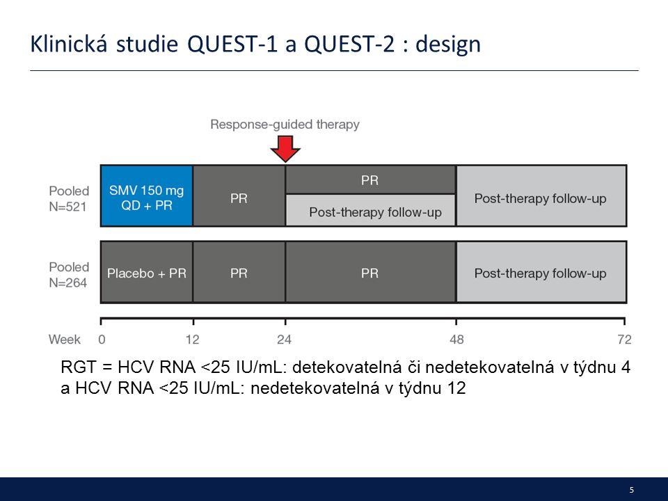 6 Klinická studie QUEST-1 a QUEST-2 : vstupní data evropských pacientů Parametr, % SMV + PR (n=276) Pbo + PR (n=142) Muži156 (56.5)85 (59.9) Euro-kavkazané263 (96.0)138 (97.2) Věk, roky (rozpětí: 18–73) 43.0 (18–73)43.5 (19–73) BMI ≥30 kg/m 2 24.8 (16.5–45.2)25.1 (18.1–35.4) IL28B CC CT TT 75 (27.2) 166 (60.1) 35 (12.7) 42 (29.6) 84 (59.2) 16 (11.3) Medián HCV RNA, log 10 IU/mL 6.4 (4.0–7.4)6.4 (3.9–7.5) Vstupní HCV RNA > 800,000 IU/mL 209 (75.7)100 (70.4) Genotyp 1a 84 (30.4)47 (33.1) Q80K + 14 (5.1)8 (5.6) Q80K - 68 (24.6)36 (25.4) Genotyp 1b 192 (69.6)95 (66.9) F0–F2 F3 F4 217 (81.3) 36 (13.5) 14 (5.2) 110 (77.5) 16 (11.3)