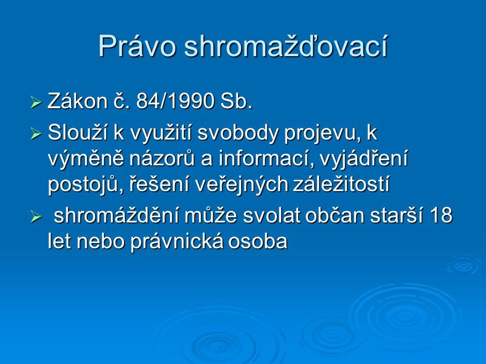 Právo shromažďovací  Zákon č. 84/1990 Sb.