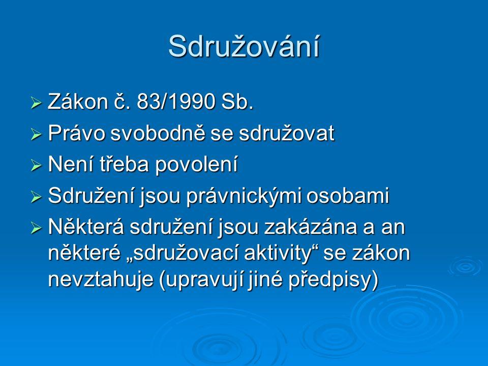 Sdružování  Zákon č. 83/1990 Sb.
