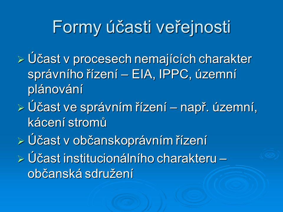 Formy účasti veřejnosti  Účast v procesech nemajících charakter správního řízení – EIA, IPPC, územní plánování  Účast ve správním řízení – např.