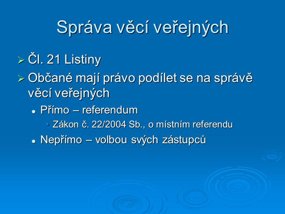 Správa věcí veřejných  Čl. 21 Listiny  Občané mají právo podílet se na správě věcí veřejných Přímo – referendum Přímo – referendum Zákon č. 22/2004