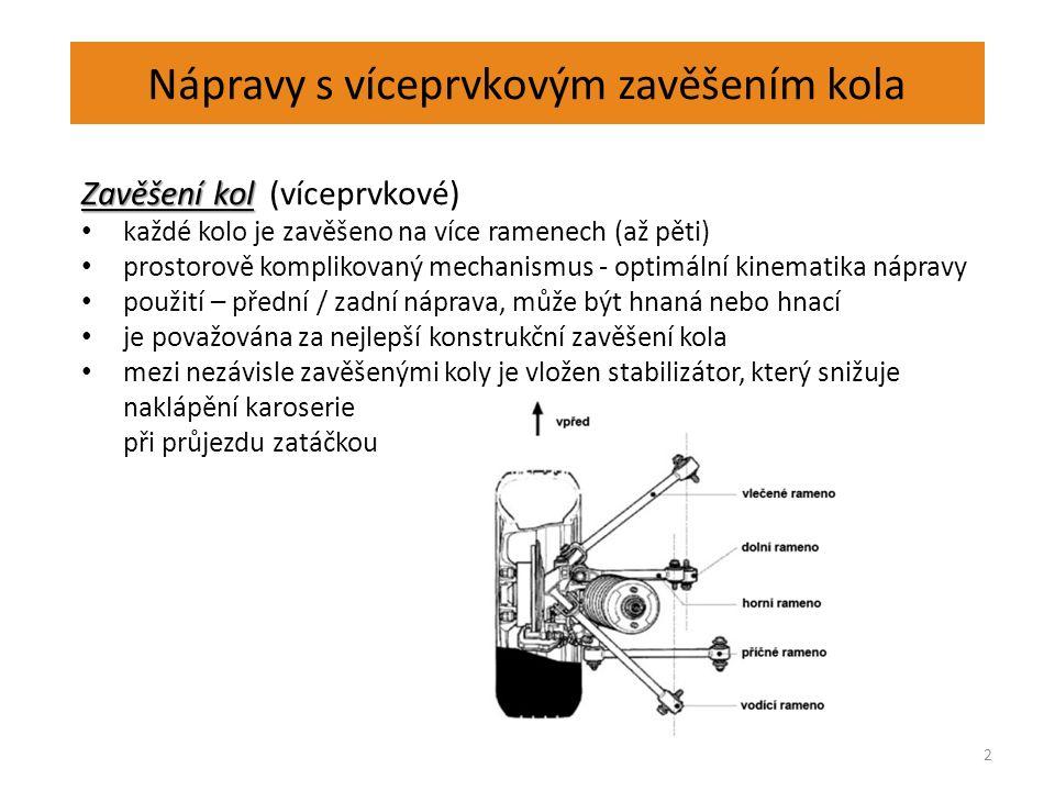 Nápravy s víceprvkovým zavěšením kola 2 Zavěšení kol Zavěšení kol (víceprvkové) každé kolo je zavěšeno na více ramenech (až pěti) prostorově komplikovaný mechanismus - optimální kinematika nápravy použití – přední / zadní náprava, může být hnaná nebo hnací je považována za nejlepší konstrukční zavěšení kola mezi nezávisle zavěšenými koly je vložen stabilizátor, který snižuje naklápění karoserie při průjezdu zatáčkou
