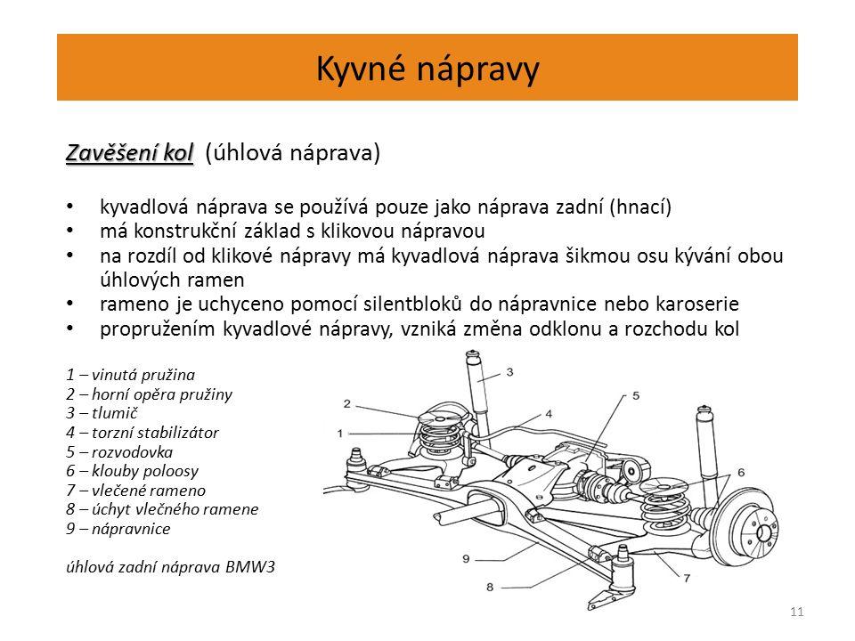 Kyvné nápravy 11 Zavěšení kol Zavěšení kol (úhlová náprava) kyvadlová náprava se používá pouze jako náprava zadní (hnací) má konstrukční základ s klik