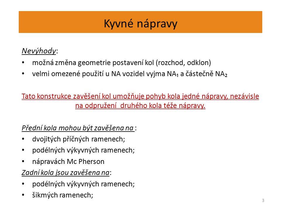 Kyvné nápravy Nevýhody: možná změna geometrie postavení kol (rozchod, odklon) velmi omezené použití u NA vozidel vyjma NA₁ a částečně NA₂ Tato konstru