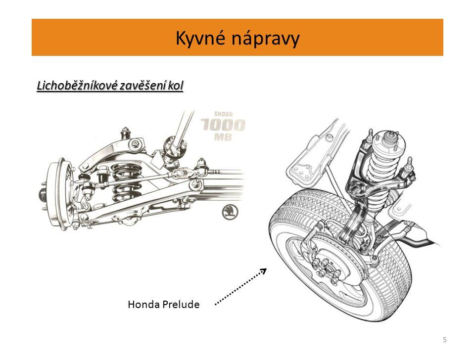 Kyvné nápravy 6 Zavěšení kol Zavěšení kol (rovnoběžníkové) U této konstrukce zavěšení kol, se sklon kol při propérování nemění, ale dochází ke změně rozchodu kol.
