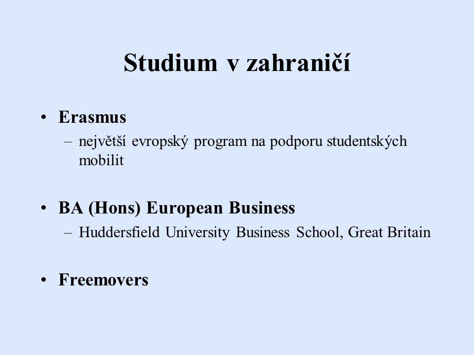 Studium v zahraničí Erasmus –největší evropský program na podporu studentských mobilit BA (Hons) European Business –Huddersfield University Business School, Great Britain Freemovers