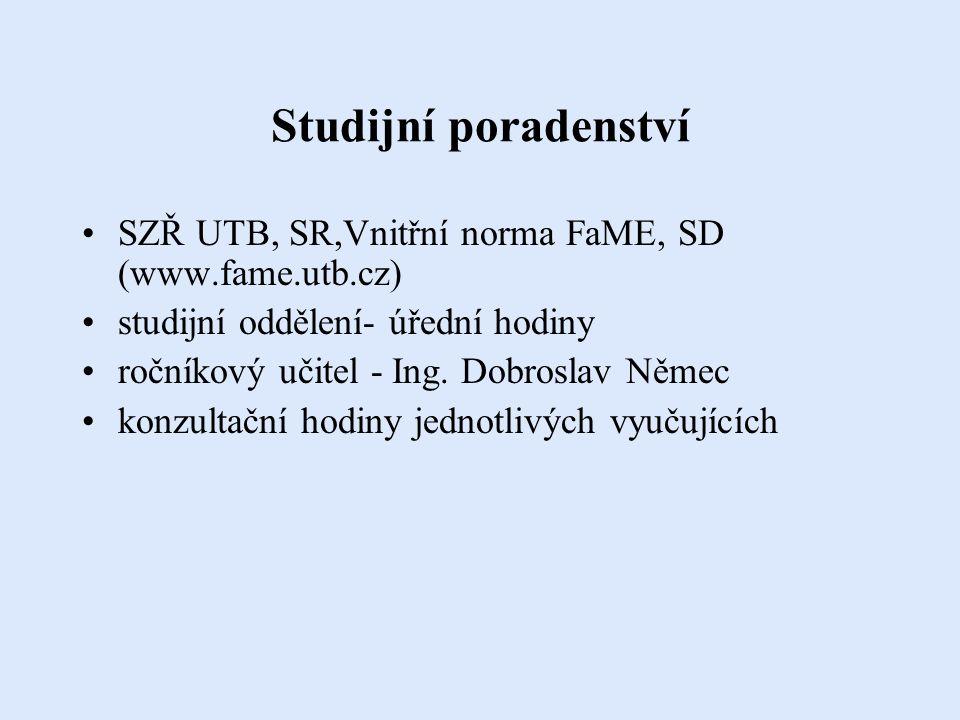 Dokumentace předmětu garanti jednotlivých předmětů stanoví podmínky pro udělení zápočtu a zkoušky v prvním týdnu příslušného semestru vše je uvedeno v kartě předmětu (IS STAG) přihlašování ke zkouškám(zápočtům) pouze prostřednictvím IS STAG