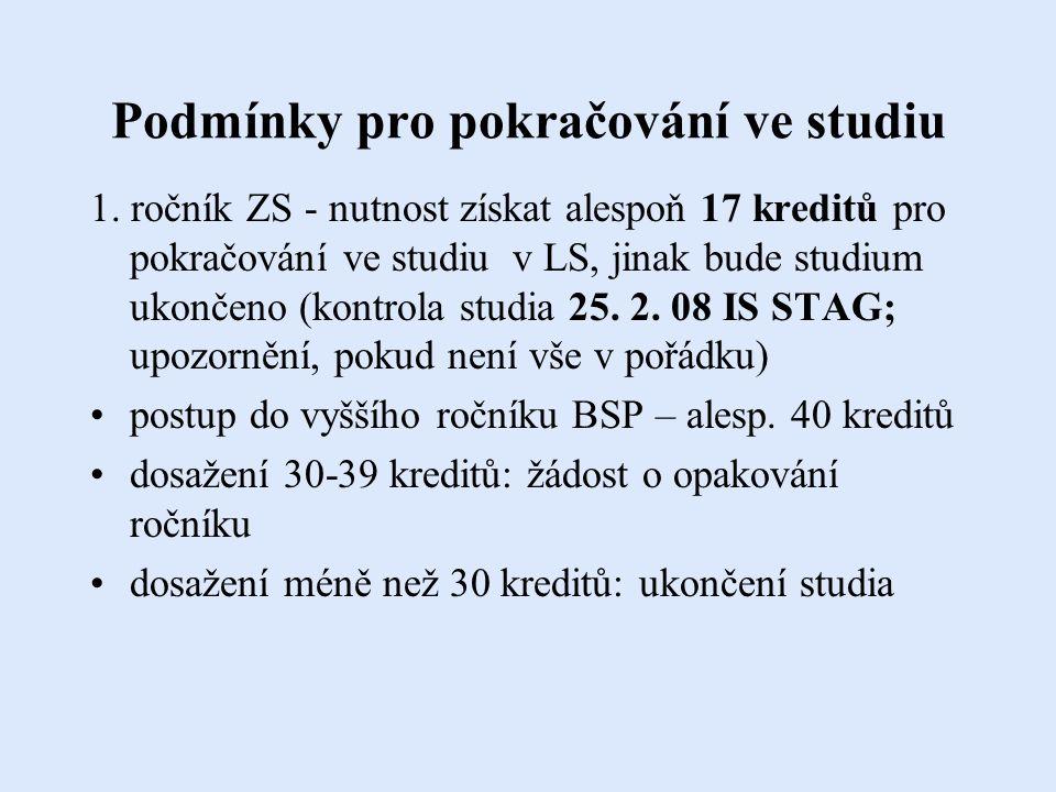 Podmínky pro pokračování ve studiu 1.