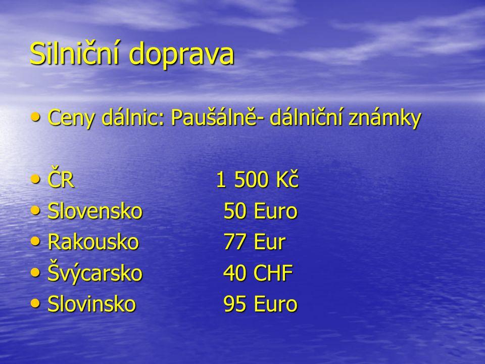 Silniční doprava Ceny dálnic: Paušálně- dálniční známky Ceny dálnic: Paušálně- dálniční známky ČR 1 500 Kč ČR 1 500 Kč Slovensko50 Euro Slovensko50 Euro Rakousko77 Eur Rakousko77 Eur Švýcarsko40 CHF Švýcarsko40 CHF Slovinsko95 Euro Slovinsko95 Euro
