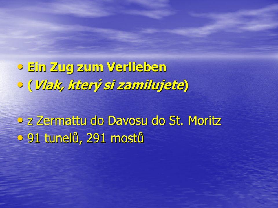 Cena jedné z jízdenek St.Moritz – Zermatt St.Moritz – Zermatt 136.00 CHF (2.tř.)232.00 CHF (1.tř) 136.00 CHF (2.tř.)232.00 CHF (1.tř) cena za rezervaci: 33 CHF cena za rezervaci: 33 CHF