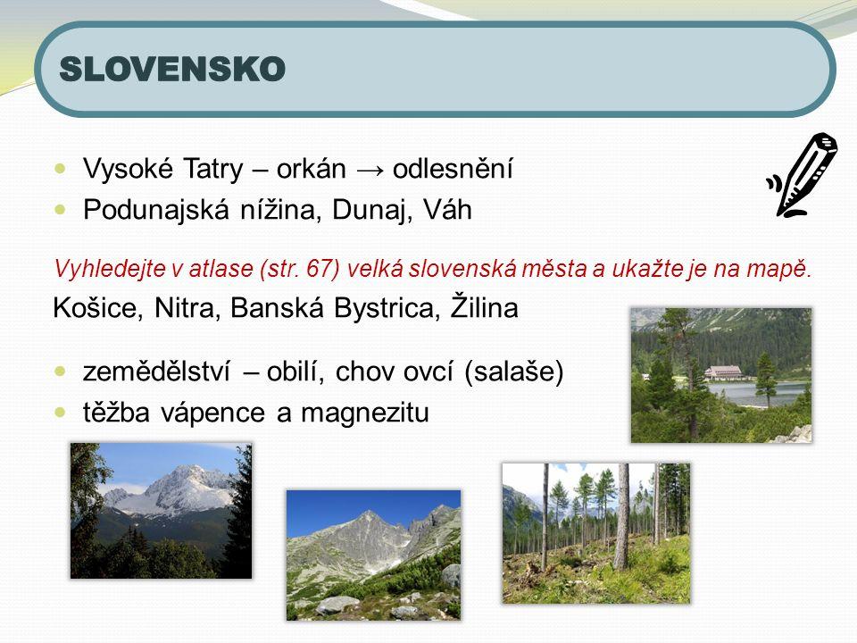 Vysoké Tatry – orkán → odlesnění Podunajská nížina, Dunaj, Váh Vyhledejte v atlase (str.