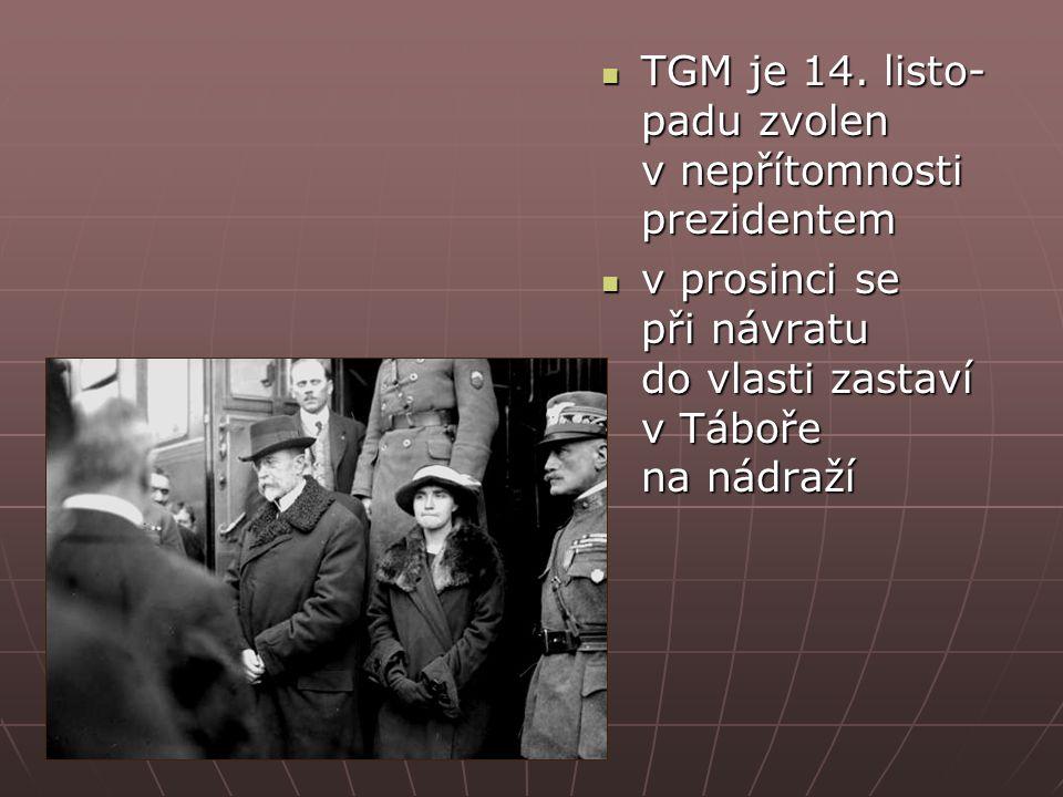 TGM je 14. listo- padu zvolen v nepřítomnosti prezidentem TGM je 14.