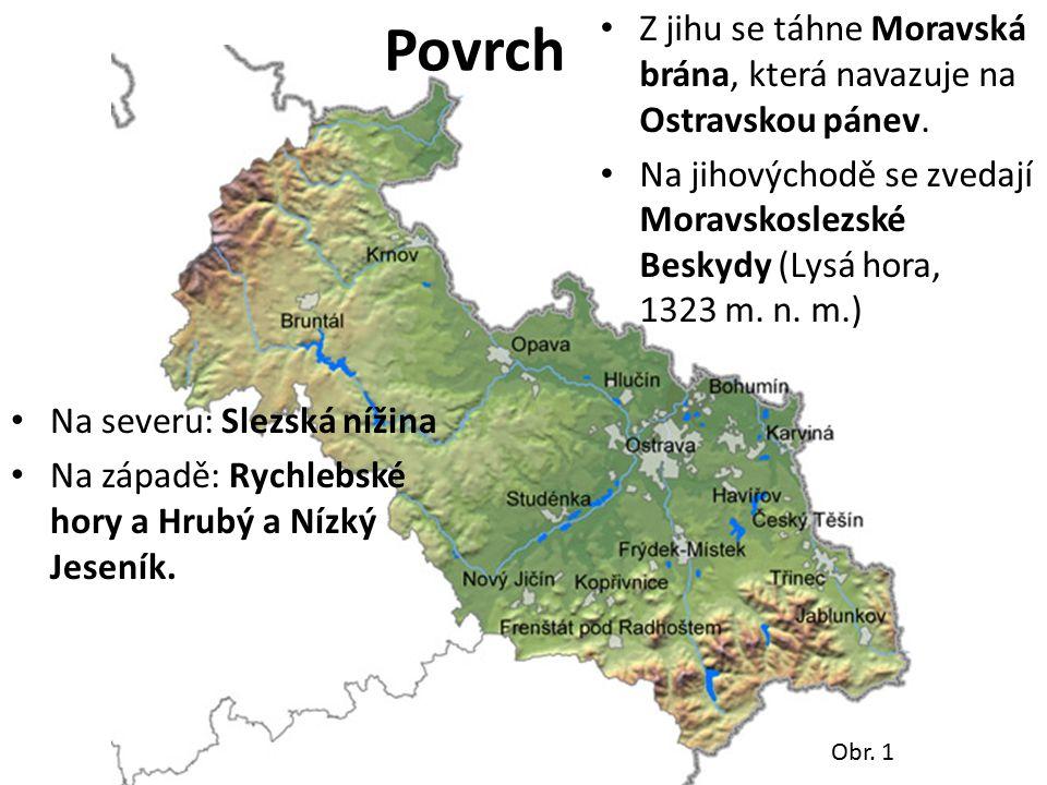 Obr. 1 Povrch Na severu: Slezská nížina Na západě: Rychlebské hory a Hrubý a Nízký Jeseník. Z jihu se táhne Moravská brána, která navazuje na Ostravsk
